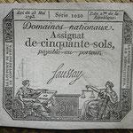 Francia 50 sols 1793 (71x83mm) pk.A70b uniface