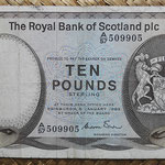 Escocia 10 pounds 1983 (150x85mm) Royal Bank pk.343a anverso