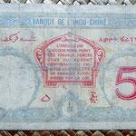 Yibuti 5 francos 1943 resello France Combattante pk. 11 reverso
