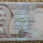 Jordania 1/2 dinar 1975-92 (136x67mm) pk.17b anverso