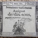 Francia 10 sous 1793 (64x75mm) pk.A68b uniface