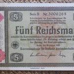 Alemania bono 5 Reichsmark -jewish notes- 1933-resello 1934 (190x110mm) pk.207 anverso