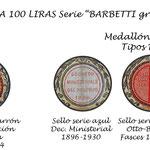 Italia 100 liras Serie Barbetti -grande B sellos medallón
