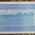 Myanmar 1 kyat 1996 (110x54mm) pk.69 reverso