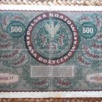 Polonia 500 marek 1919 pk.28 reverso
