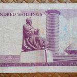 Kenia 100 shilingis 1976 (150x79mm) reverso