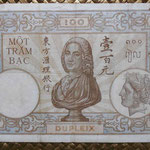 Indochina 100 piastras 1936-39 (214x142mm) pk.51d reverso