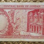 Jordania 5 dinares L1959-2ed. (164x80mm) pk.15b reverso