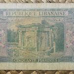 Libano 50 piastras 1950 (120x68mm) pk.43 reverso