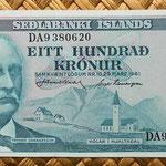 Islandia 100 coronas 1961 (150x70mm) anverso