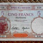 Polinesia francesa 5 francos 1927 (148x92mm) pk. 11c anverso
