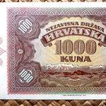 Croacia 1000 kunas 1941 (170x90mm) reverso