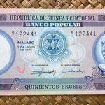 Guinea Ecuatorial 500 ekuele 1975 (170x73mm) anverso