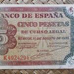 España 5 pesetas 1938 (112x60mm) pk.110 anverso