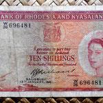 Rodesia y Nyasalandia 10 shillings 1961 (134x76mm) anverso