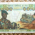 Mali 500 francos 1972 anverso