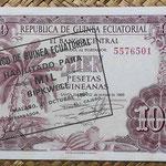 Guinea Ecuatorial 100 pesetas 1969 resello 1000 bipkwele 1980 (138x88mm) pk.18 anverso