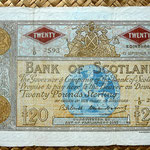 Escocia 20 pounds sterling -Bank Of Scotland 1960 (222x132mm)  uniface