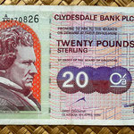 Escocia 20 pounds sterling -Clydesdale Bank PLC 1999 (150x80mm) anverso