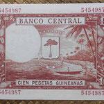Guinea Ecuatorial 100 pesetas 1969 (138x88mm) pk.1 reverso