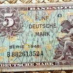 Alemania Ocup. Aliada postWWII  5 marcos 1948 billete militar