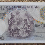 Congo Belga 100 francos 1956 (158x84mm) pk.33a reverso