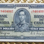 Canada 20 dollars 1937 (154x73mm) pk.62c anverso