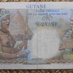 Guyana 50 francos 1947 (150x80mm) pk.22a reverso