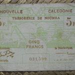 Nueva Caledonia 5 francos 1943 Bono -Tesoro de Noumea (114x70mm) pk.58 anverso