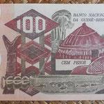 Guinea Bissau 100 pesos 1975 (150x80mm) pk.2a reverso