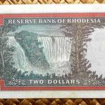 Rodesia 2 dólares 1973 reverso