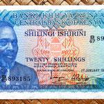Kenia 20 shilingis 1975 (144x76mm) anverso
