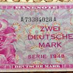 Alemania Ocup. Aliada postWWII  2 marcos 1948 billete militar