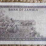 Zambia 1 kwacha 1968 (130x68mm) pk.5a reverso