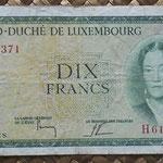 Luxemburgo 10 francos 1954 (130x70mm) pk.48a anverso