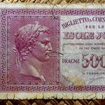 Grecia Islas Jónicas ocupac. italiana WWII  500 dracmas 1942 (150x80mm) anverso