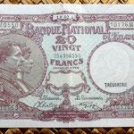 Bélgica 20 francos 1943 anverso
