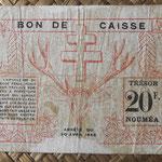 Nueva Caledonia 20 francos 1943 Bono -Tesoro de Noumea (114x70mm) pk.57a reverso