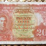 Malaya británica 20 centavos 1941 anverso