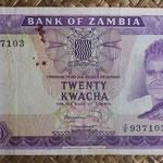 Zambia 20 kwachas 1969 (160x80mm) pk.13c anverso