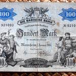 Alemania 100 marcos 1907 Badische Bank anverso