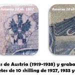 Austria 10 shillings 1927 vs. 1945 grabados heráldicos