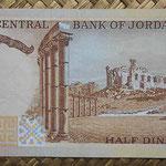 Jordania 1/2 dinar 1975-92 (136x67mm) pk.17b reverso