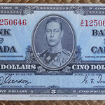 Canada 5 dollars 1937 (153x72mm) pk.60b anverso