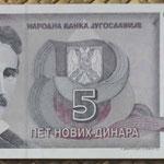 Yugoslavia 5 dinares 1994 (130x60mm) pk.148 anverso