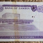Zambia 20 kwachas 1969 (160x80mm) pk.13c reverso