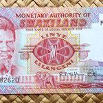 Swazilandia 1 lilangeni 1974 anverso