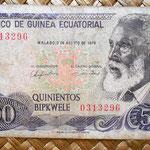 Guinea Ecuatorial 500 bipkwele 1979 (130x68mm) anverso