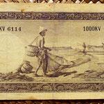 Indonesia 1000 rupias 1957 reverso