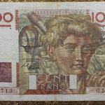 Francia 100 francos 2-10-1952 Jeune Paysan (130x85mm) pk.128e anverso